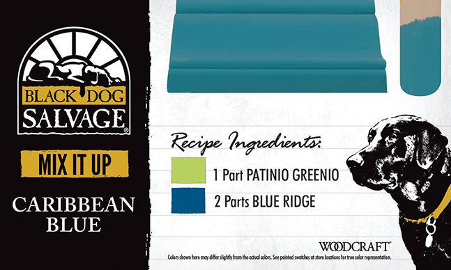 """Caribbean Blue"" is made from 1 Part ""Patinio Greenio"" and 2 Parts ""Blue Ridge"""