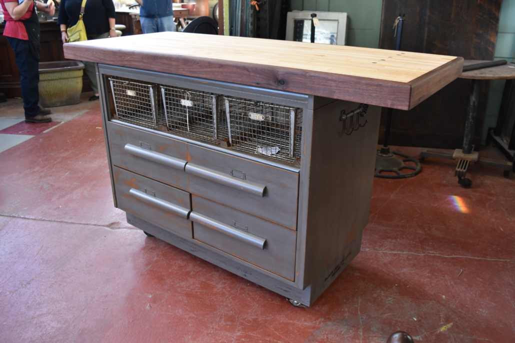 a counter made from architectural salvage