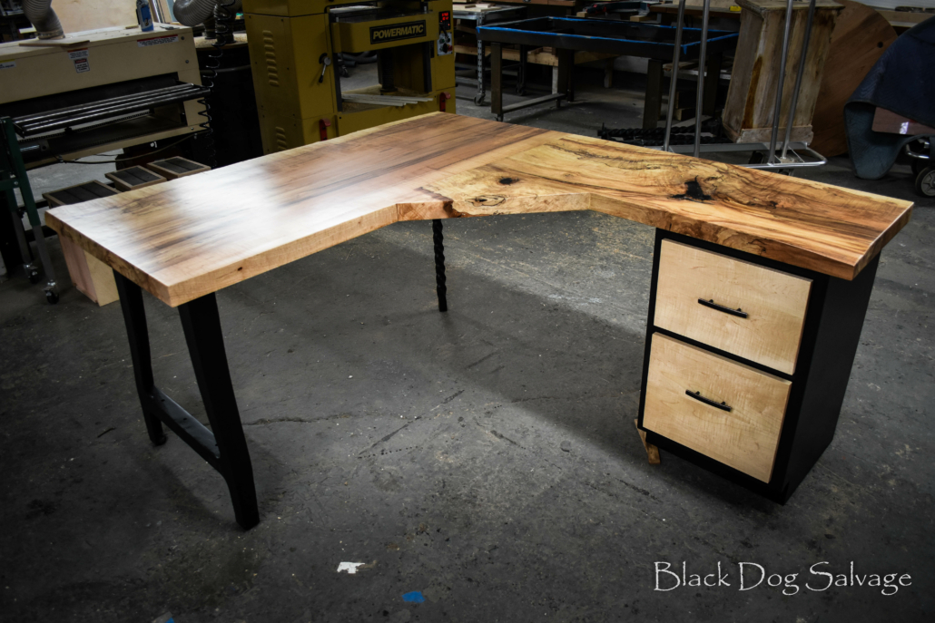 a desk made from architectural salvage