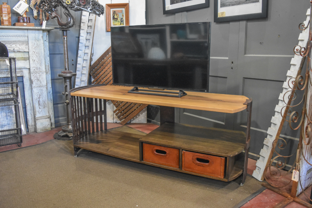 a tv console made from architectural salvage