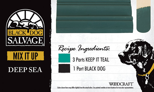 """Deep Sea"" is made from 3 Parts ""Keep It Teal"" and 1 Part ""Black Dog"""
