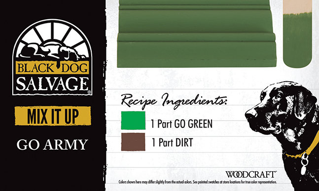 """Go Army"" is made from 1 Part ""Go Green"" and 1 Part ""Dirt"""