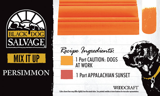 """Persimmon"" is made from 1 Part ""Caution: Dogs at Work"" and 1 Part ""Appalachian Sunset"""