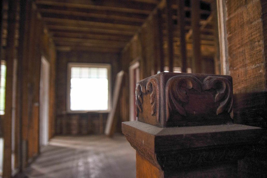 artisan woodwork in the Stone House