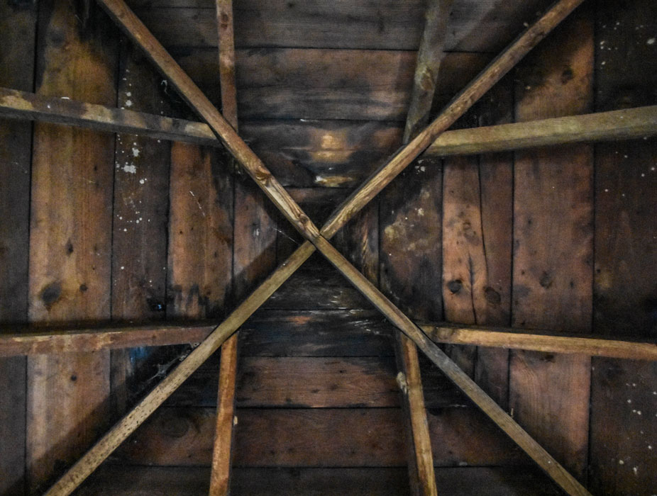 wooden rafters in the Stone House