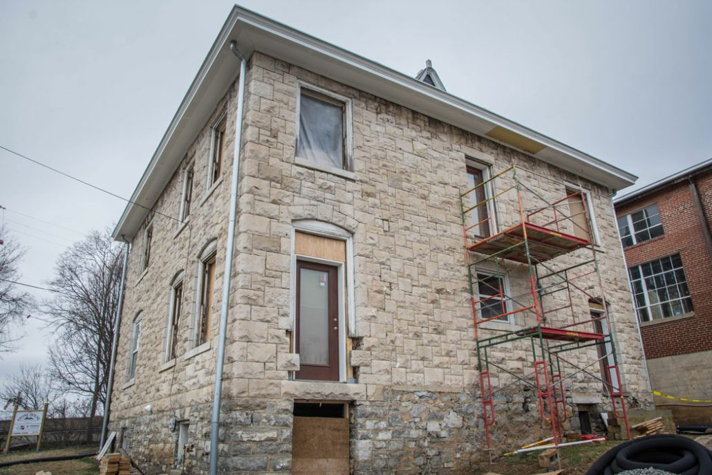 scaffolding on the backside of the Stone House