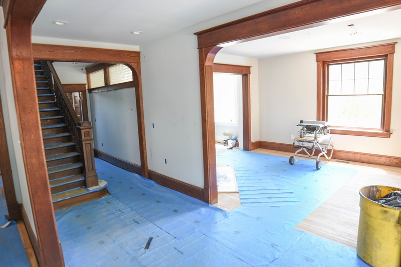 the floors in the Stone House are protected for painting