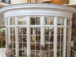 bay window salvaged from a burned home in Martinsville