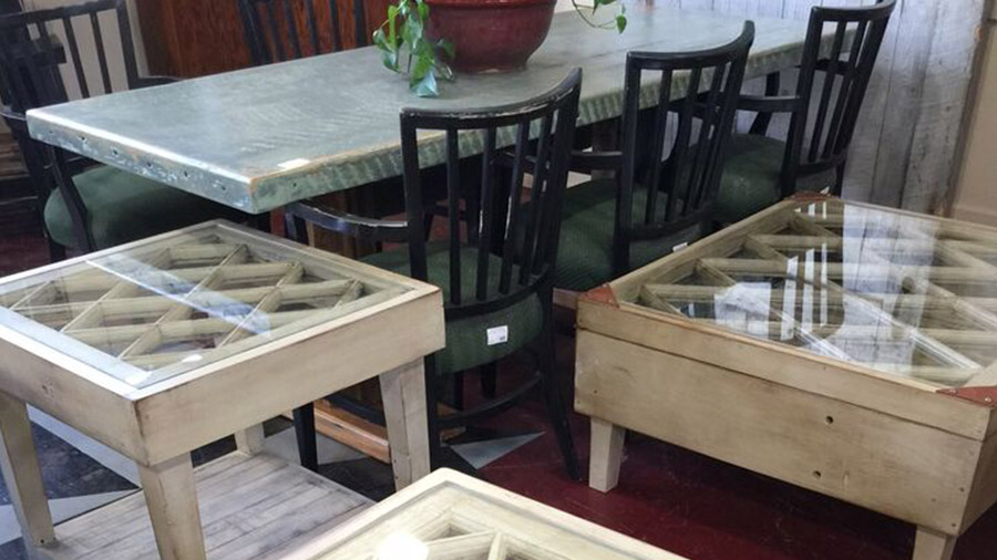 tables built from architectural salvage