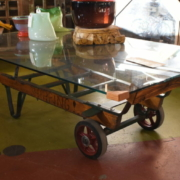 a coffee table on wheels