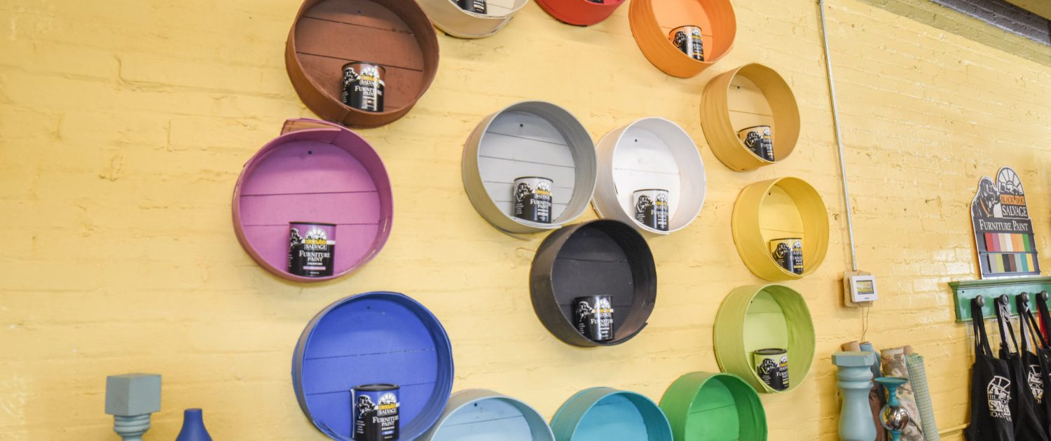 a color-wheel display of all 16 shades of Black Dog Salvage furniture paint