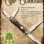 Tuna Valley Cutlery Gallery - 2012 Cigar Stockman - Burnt Stag with Engraved Bolsters