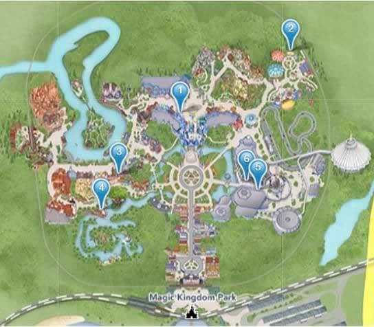 Localização dos quiosques FastPass do Magic Kingdom 2