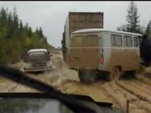 Dirt roads are still common in Russia.