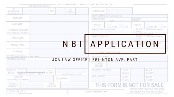 NBI Application Form of JCA Law Office