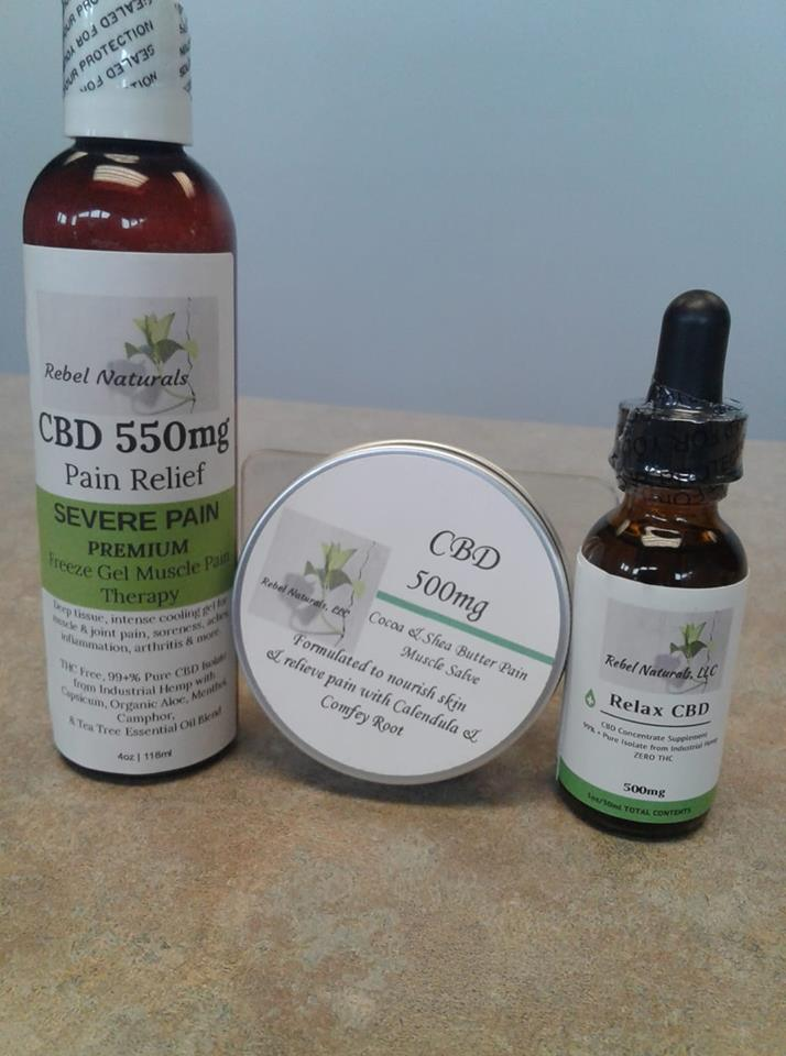 "We Stock ""Rebel Naturals"" CBD; Muscle Salve, Freeze Gel, Massage Oil, and Concentrate ""Drops"". CBD is known for being an all natural anti-inflammatory and promoting pain relief. Try it Today!"