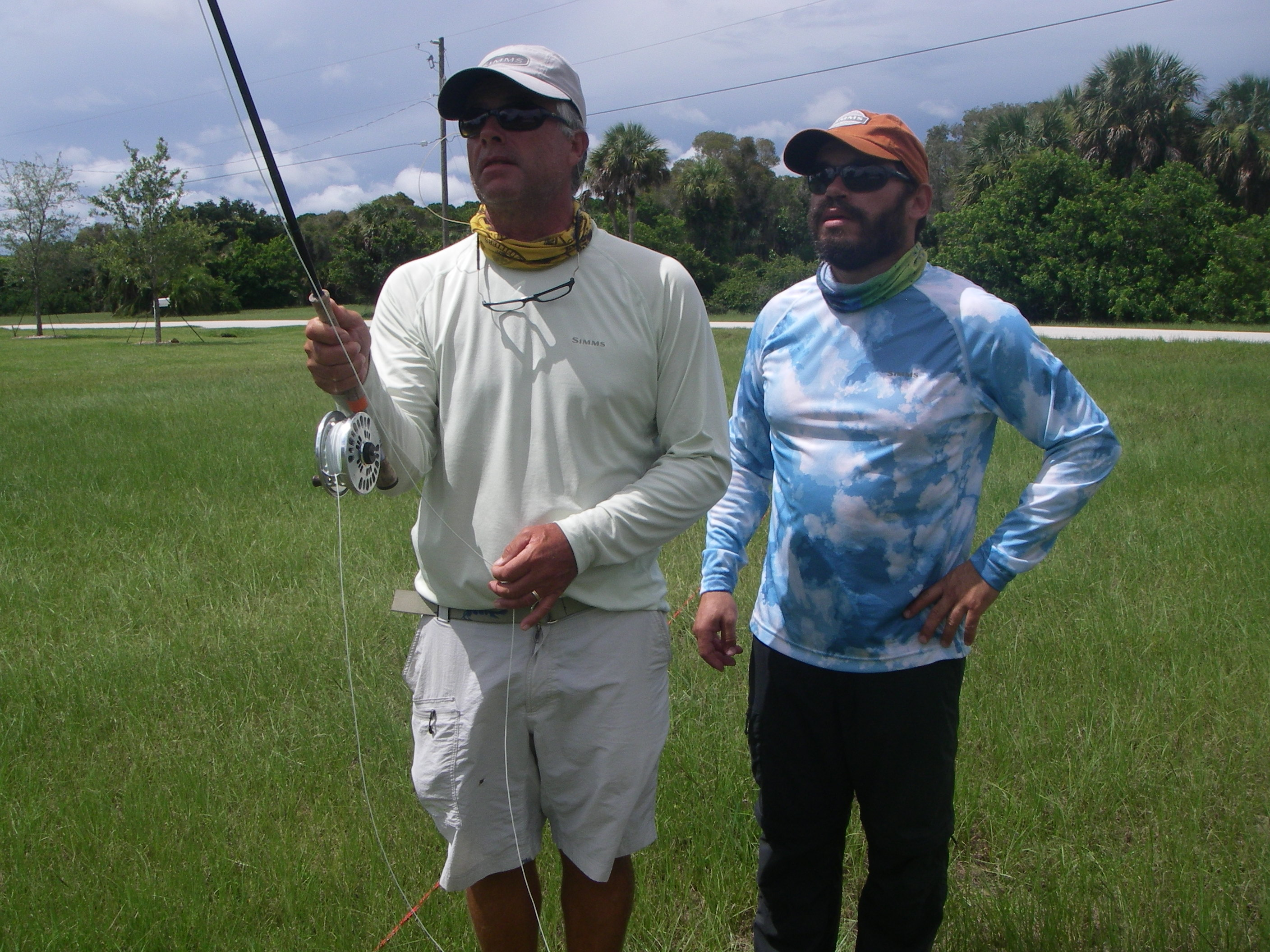 Capt Leo Henriques providing fly fishing casting instruction