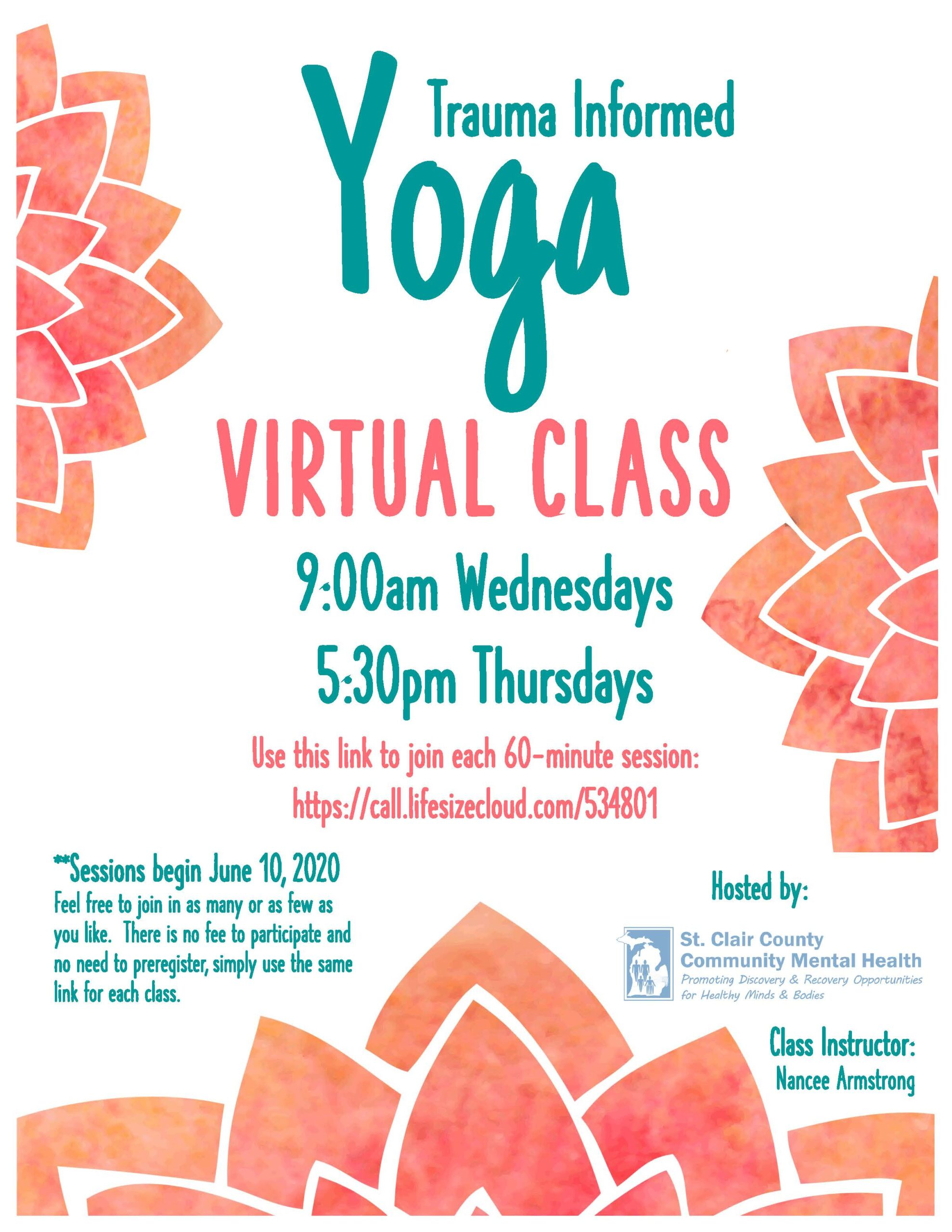 Virtual Yoga Class Flyer