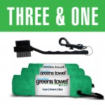 Three & One Greens Towel/Club Brush Combo