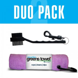 Pink Golf Towel and golf club brush combination