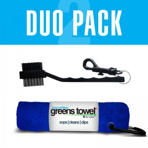 Royal Blue Greens Towel with golf club brush