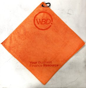 Orange golf towel custom laser etch 2 logos