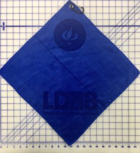 Royal blue golf towel custom two laser etch logos
