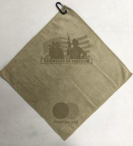 Sand golf towel two custom laser etch logos