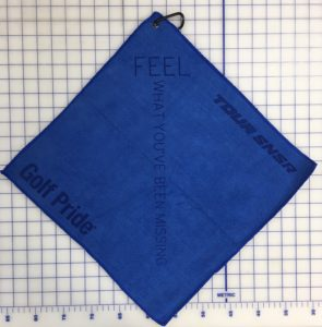 Royal blue golf towel 3 custom laser etch logos