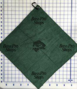 Forest green golf towel custom laser etch logo multiple logos
