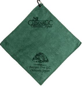 Forest green golf towel custom laser etch logos