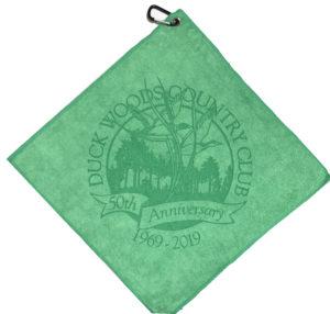 Green golf towel custom laser etch logo oversized