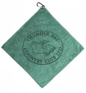 Dark Green golf towel custom laser etch logo