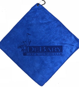 Royal Blue golf towel laser etch logo centered