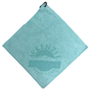 Caribbean aqua blue golf towel laser etch logo bottom corner