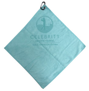 Caribbean blue golf towel custom laser etch logo