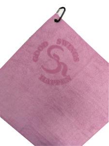 Pink golf towel custom laser etch logo under clip