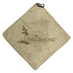 Sand golf towel custom laser etch logo center