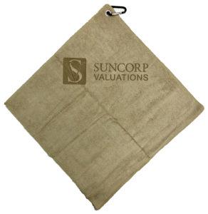 Desert Sand golf towel custom laser etch logo