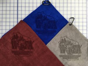 Mix colors golf towels custo laser etch logo