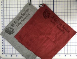 Mixed colors golf towels custom laser etch logo seam edge