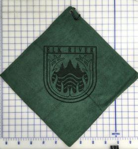 Forest Green golf towel custom laser etch logo