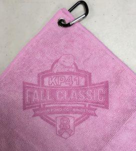 Awareness pink golf towel custom laser etch logo oversize