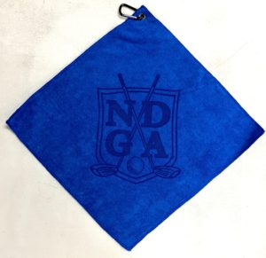 Royal blue golf towel custom laser etch oversize logo