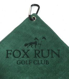 Custom Logo laser Etch Forest Green Microfiber Golf Towels