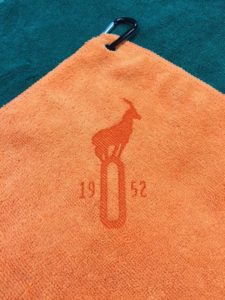 Custom Logo Microfiber golf towel orange laser etch
