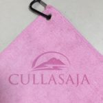 Custom Logo Laser Etch Pink Microfiber Golf Towels
