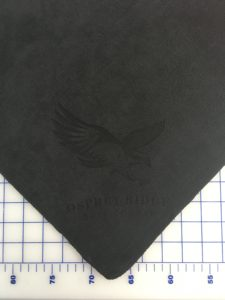Black golf towel custom laser etch bottom corner