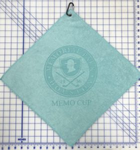 Caribbean blue golf towel custom laser etch logo centered