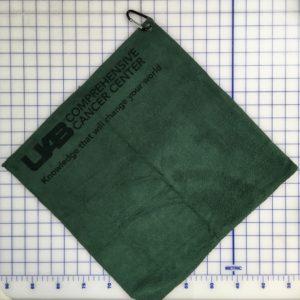 Forest green golf golf towel custom laser etch logo